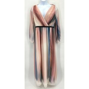 Little Mistress Ivory Pink Gray Stripe Maxi Dress